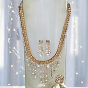 rhinestone necklace earring set