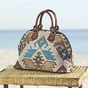 flocked tapestry bag