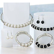beaded coil necklace bracelet and earring set