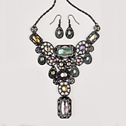 geometric necklace and earring set