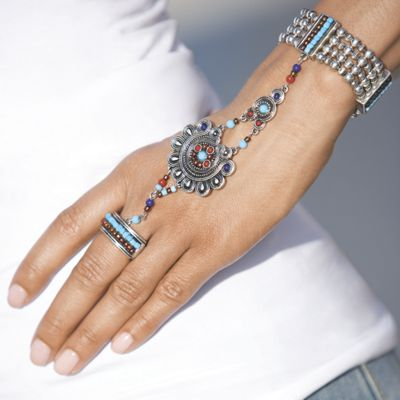 Silvertone Multicolored Hand Jewelry (Bracelet and Ring)