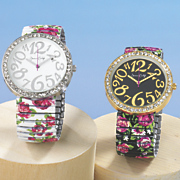 Round-Crystal Rose Stretch Band Watch