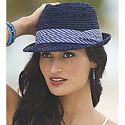 fedora with striped band