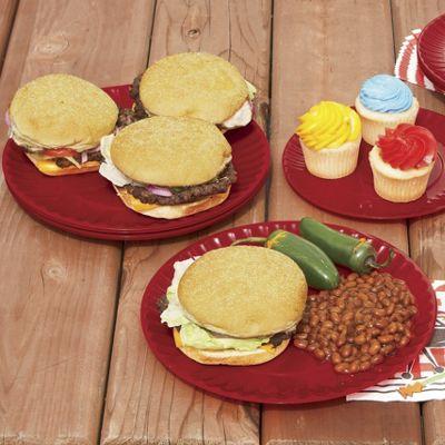 Set of 6 Red Melamine Dinner Plates