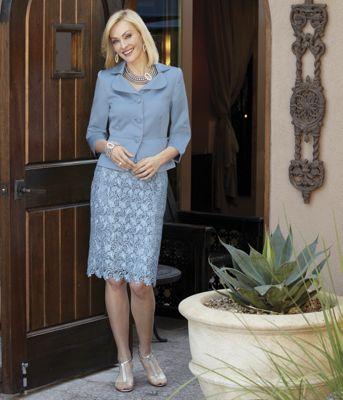 Blue Satin Peplum Jacket and Lace Skirt Set