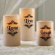 set of 3 live laugh love led candles
