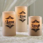 set of 3 live laugh love led candles