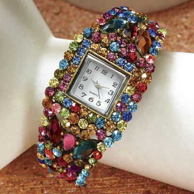 Carousel Multicolor Crystal Hinged Bangle Watch