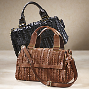 ruffle leather handbag