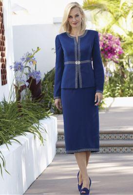 Rhinestone Trim Skirt Suit, Crystal Earrings and Marnie Strap Shoe