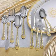 45 piece gold accent rose cascade flatware set