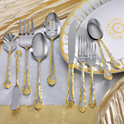 45 piece gold accent rose cascade flatware set