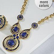 santorini blue beaded necklace