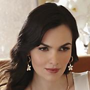 faux pearl floral earrings