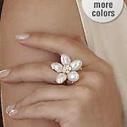 faux pearl floral stretch ring