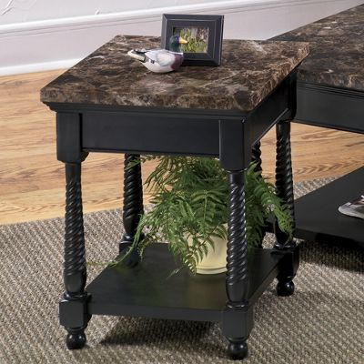 Black Faux Marble End Table