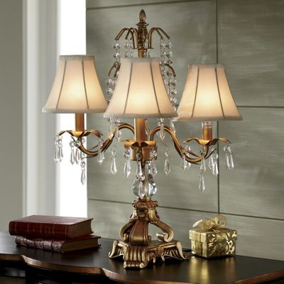 Gold & Ivory Chandelier Lamp