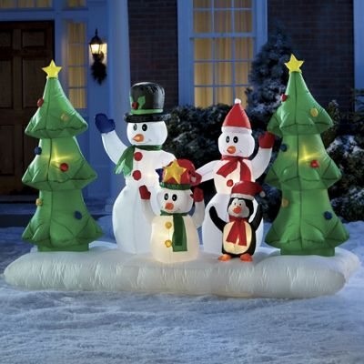 Inflatable Snowman Family with Penguin