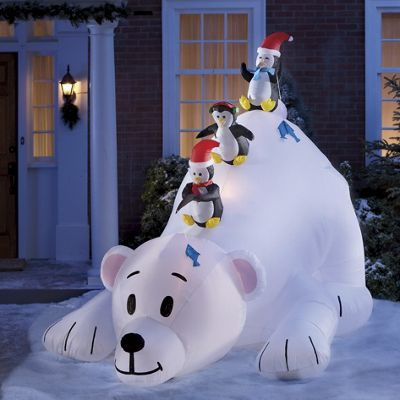Inflatable 8' High Polar Bear with Fishing Penguins
