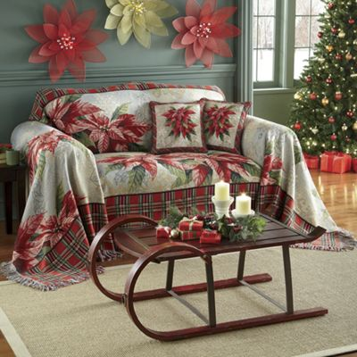 Poinsettia Furniture Throw