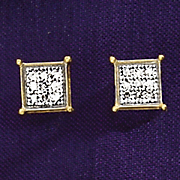 Diamond Square cluster Post Earrings z