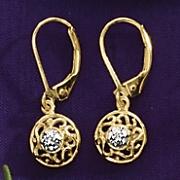Diamond Round-Drop Leverback Earrings
