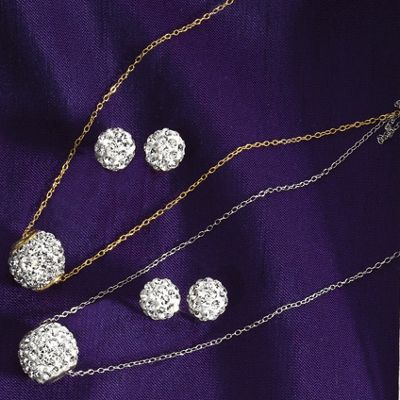 Crystal Barrel Pendant and Post Earring Set