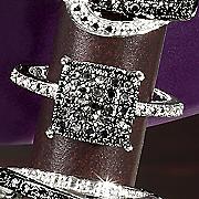 Black Diamond Square Cluster Ring