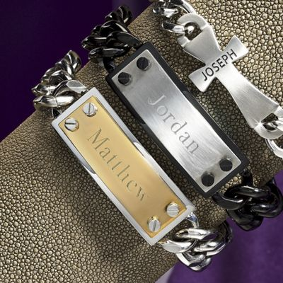 Stainless Steel Two-Tone Unisex ID Bracelet