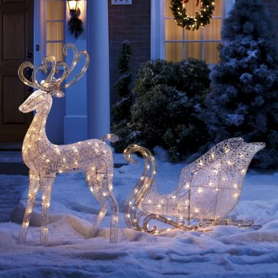 Animated Lighted Buck and Sleigh