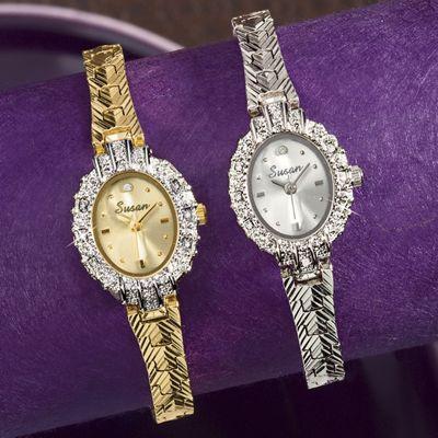 Personalized 8-Diamond Oval Bracelet Watch