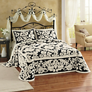 Floral Scroll Damask Chenille Bedspread