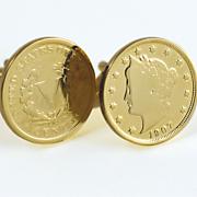 Gold layered Liberty Nickel Cufflinks