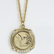 Gold-layered Hummingbird Coin Pendant