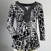 Zahra Beaded Animal print Top