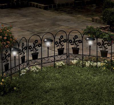 3-Piece Solar Floral Fence Set