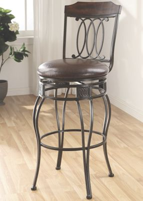 Set of 2 Scrolled Swivel Bar Stools