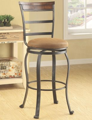 Set of Two Wood-Accent Swivel Bar Stools