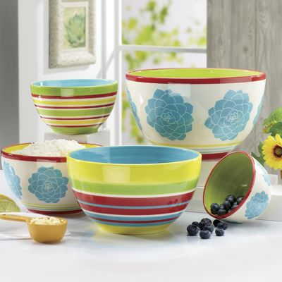 5-Piece Blooming Hill Stoneware Nesting Bowl Set