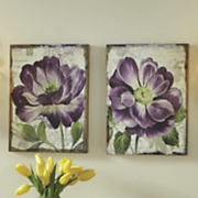 set of 2 purple petals prints