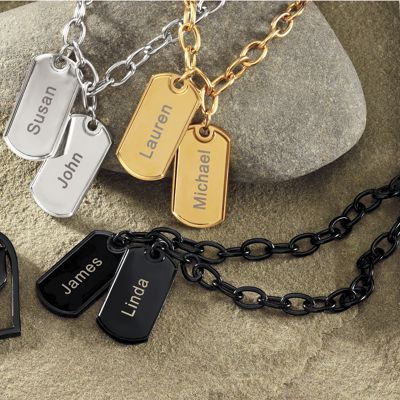Two-name Dog Tags Bracelet