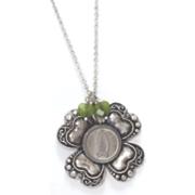 Irish 3pence 4leaf Clover Green Heart Charm Pendant