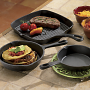 3 piece pre seasoned cast iron set
