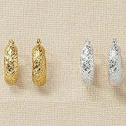 gold diamond cut mini hoops