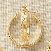 gold diamond cut band flat hoops