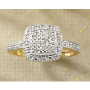 10K Gold Diamond Rectangle Cluster Ring 2013