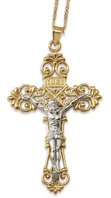 Two-Tone Scroll Crucifix Pendant
