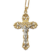 two tone scroll crucifix pendant