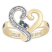 personalized scrolled heart birthstone ring with diamond accents