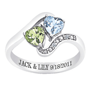 personalized double heart birthstone ring with diamond accents